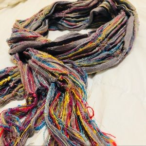 Beautiful colorful tinsel fringe scarf